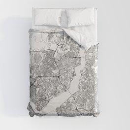 Istanbul White Map Duvet Cover