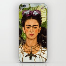 SELF PORTRAIT WITH THORN NECKLACE AND HUMMING BIRD - FRIDA KAHLO iPhone Skin