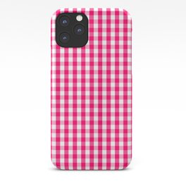Hot Neon Pink and White Gingham Check iPhone Case