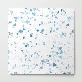 Turquoise Terrazzo White Marble Metal Print