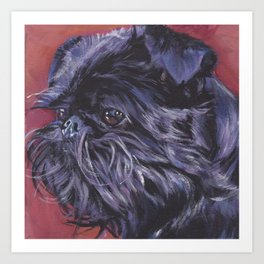 Brussels Griffon belge dog art portrait from an original painting by L.A.Shepard Art Print