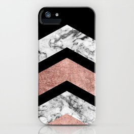 Modern rose gold black white geometric marble iPhone Case