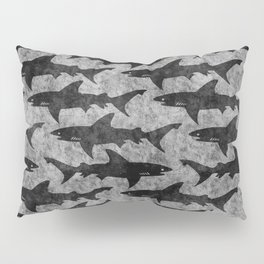 Gray and Black Shark Pattern Pillow Sham