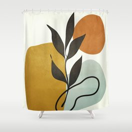 Soft Abstract Small Leaf Shower Curtain