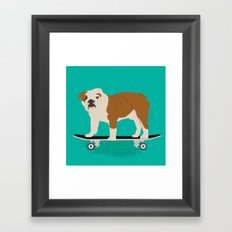 English bulldog skateboard funny pet portrait cute gift for dog person dog lover bulldog owner gifts Framed Art Print