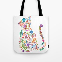 Fancy And Fine Flowered Cat Garden Design Tote Bag