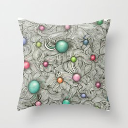 Embedded Color Spheres Throw Pillow