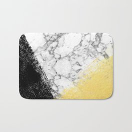 Astra - marble black and gold abstract art minimalist home decor office dorm nursery Bath Mat