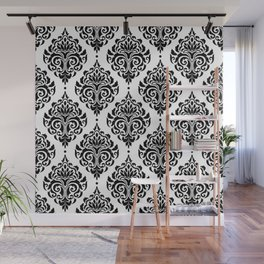 Black and White Damask Wall Mural