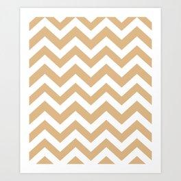 Burlywood - brown color - Zigzag Chevron Pattern Art Print