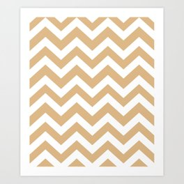 Burlywood - brown color - Zigzag Chevron Pattern Art Print