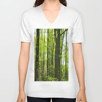fairytale V-neck T-shirts featuring Fairytale Forest by Kelsey Hunt