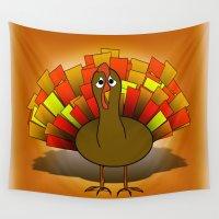 turkey Wall Tapestries featuring Worried Turkey Illustration by Gravityx9