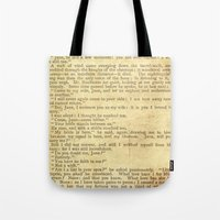 jane eyre Tote Bags featuring Jane Eyre, Mr. Rochester First Marriage Proposal by Charlotte Bronte by ForgottenCotton