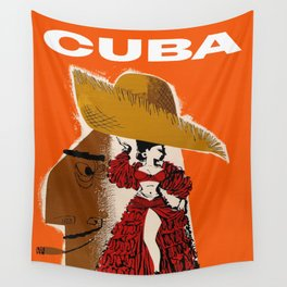 Vintage Travel Ad Cuba Wall Tapestry