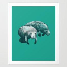 manatee pair Art Print