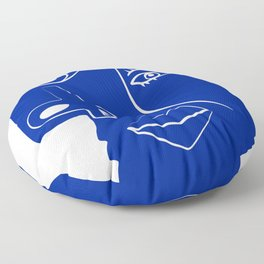 Blue mood portrait Floor Pillow