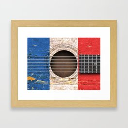 Old Vintage Acoustic Guitar with French Flag Framed Art Print