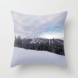 Mountains behind the trees Throw Pillow
