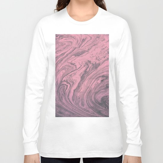 Pink Marbled Texture Long Sleeve T-shirt