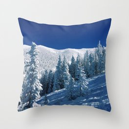 Snowy Mountain &Trees Throw Pillow