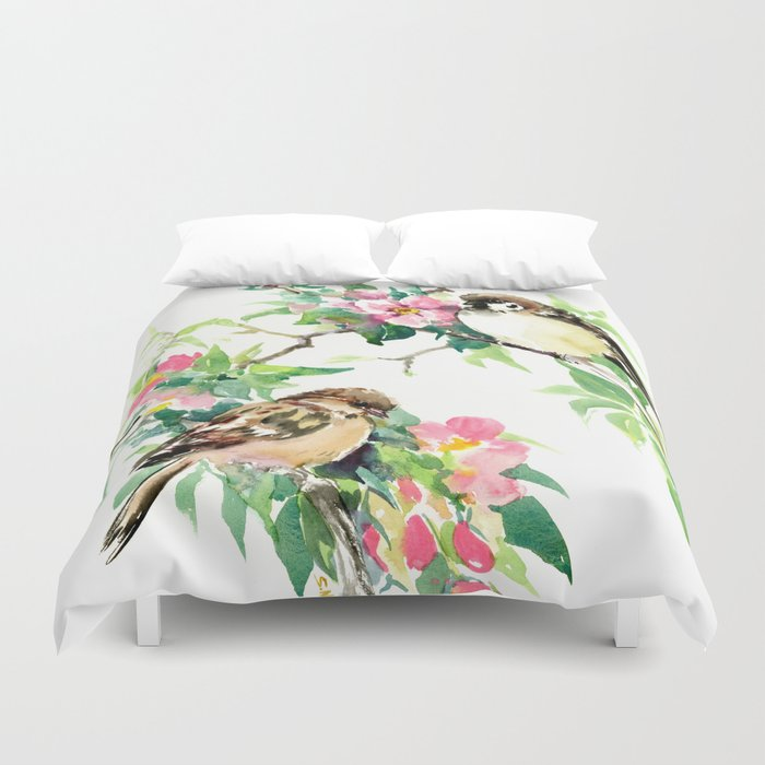 Sparrows and Apple Blossom Duvet Cover
