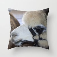 alpaca Throw Pillows featuring Alpaca by Deborah Janke