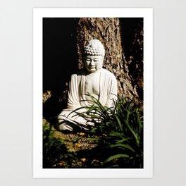 Buddha Zen Meditative Earthy White Brown and Green Art Print Art Print