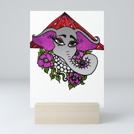 Elephant with Violets Pearls and Pyramid Mini Art Print