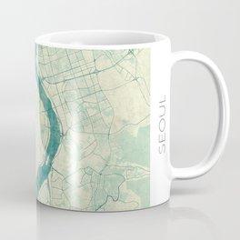 Seoul Map Blue Vintage Coffee Mug