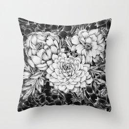 Dahlias & Peonies Black Throw Pillow