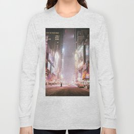 New York City Colorful Snowy Night in Times Square Long Sleeve T-shirt