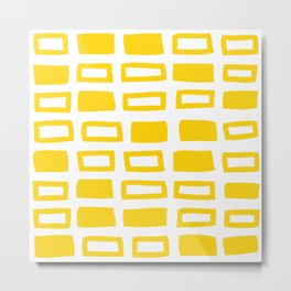 Mid Century Modern Abstract Squares Pattern 442 Yellow Metal Print