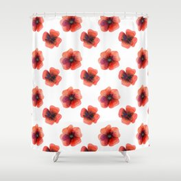 Meadow Red Poppies Shower Curtain