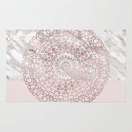 Rose gold mandala - blush pink & marble Rug