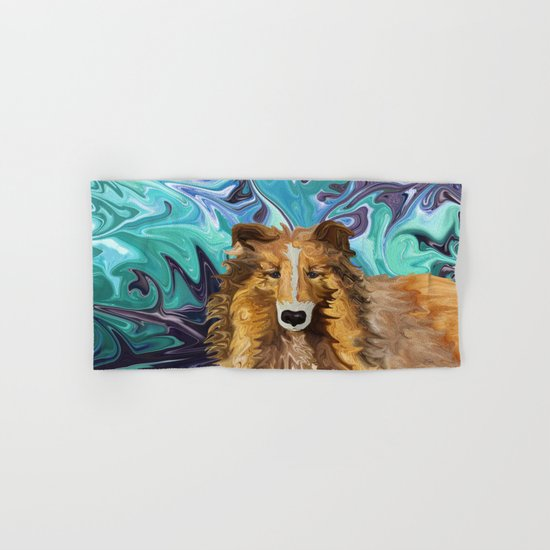 The Inquisitive Collie of the Psychedelic Dog Parade Hand & Bath Towel