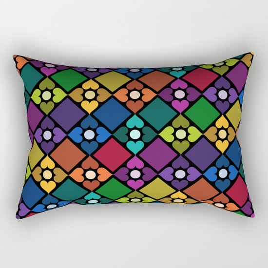 Colorful Floral Pattern Rectangular Pillow