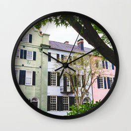 Rainbow Row in Charleston, SC Wall Clock