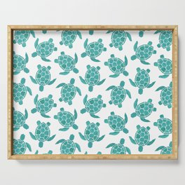 Save The Turtles in Teal Serving Tray