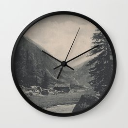 Swiss Mountain Lithography Wall Clock