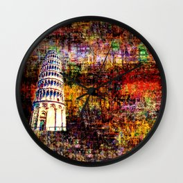 Semi-Abstract Leaning Tower of Pisa Wall Clock