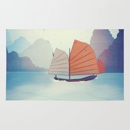 Chinese Boat on the water Rug