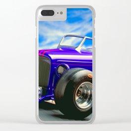 Purple-Blue Classic Hot Rod Clear iPhone Case