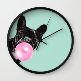 Bubble Gum Sneaky French Bulldog in Green Wall Clock