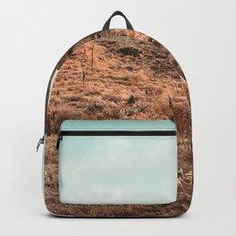 Saguaro Mountain // Vintage Desert Landscape Cactus Photography Teal Blue Sky Southwestern Style Backpack