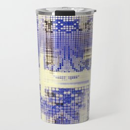 needlepoint sampler in blues Travel Mug