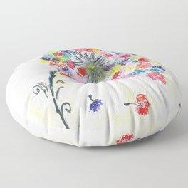 Dandelion watercolor illustration, rainbow colors, summer, free, painting Floor Pillow