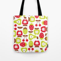 shabby chic Tote Bags featuring Shabby Chic Fruits Pattern by totallyjamie