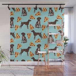 German Shorthair Pointer dog breed pet art pizza slices pattern design by pet friendly dog lovers Wall Mural