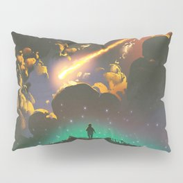 Fantasy Illustration Graphic Design Anime Japanese Inspired World Meteor Passing In Glowing Sky Pillow Sham